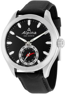 Alpina Horological Smartwatch Black Dial Black Leather Men's Watch
