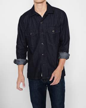 7 For All Mankind Long Sleeve Denim Military Shirt in Dark Indigo Rinse