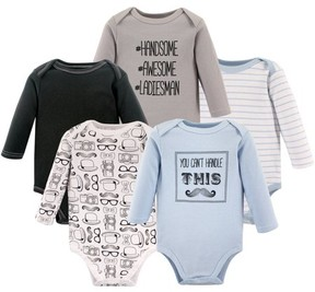 Hudson Baby Boy Long Sleeve Bodysuit, 5-Pack