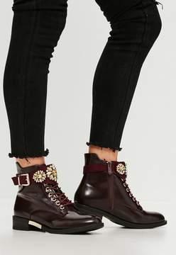 Missguided Burgundy Embellished Strap Ankle Boots