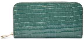Aspinal of London Continental Clutch Zip Wallet In Deep Shine Sage Small Croc