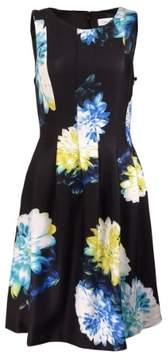 Calvin Klein Women's Floral Sleeveless Scuba A-Line Dress