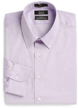 Saks Fifth Avenue BLACK Slim-Fit Solid Herringbone Dress Shirt