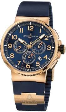 Ulysse Nardin Maxi Marine Chronograph Blue Dial 18K Rose Gold Automatic Men's Watch 1506-150LE-3-63-VB
