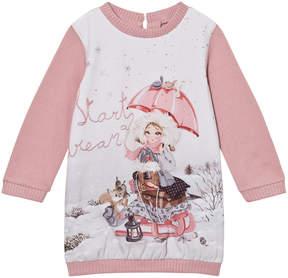 Mayoral Pink Snow Girl Print Sweat Dress