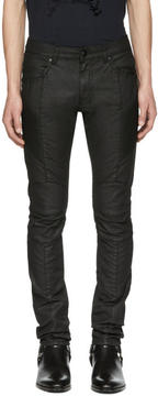 Pierre Balmain Black Coated Biker Jeans