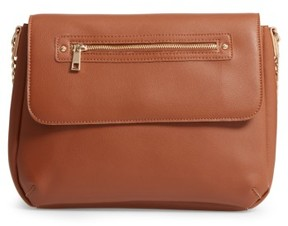 Bp. Faux Leather Flap Crossbody Bag - Brown