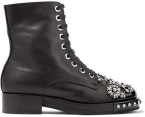 No.21 No. 21 - Crystal-embellished Leather Biker Boots - Black
