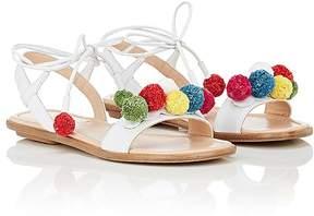 Aquazzura Kids' Pom-Pom Leather Sandals