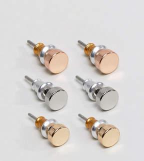 Reclaimed Vintage Circle Stud Earrings In 3 Pack Exclusive To ASOS