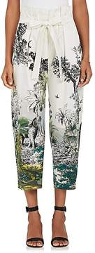 Alberta Ferretti Women's Jungle-Print Cotton-Blend Crop Pants
