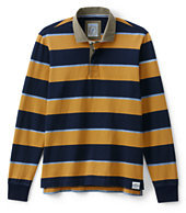 Lands' End Men's Long Sleeve Stripe Rugby Shirt-Light Navy