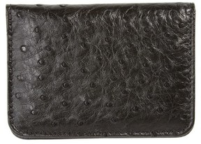 Mezlan Men's Ostrich Leather Card Case - Black