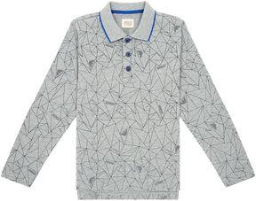 Armani Junior Graphic Print Long Sleeve Polo Shirt