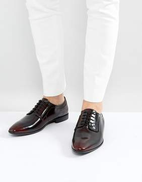 Asos Lace Up Derby Shoes In Burgundy Leather