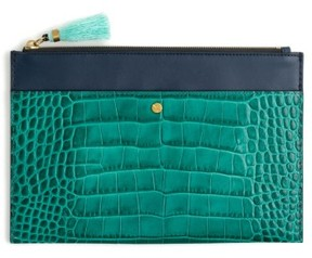 J.crew Large Stamped Croc Leather Pouch - Blue
