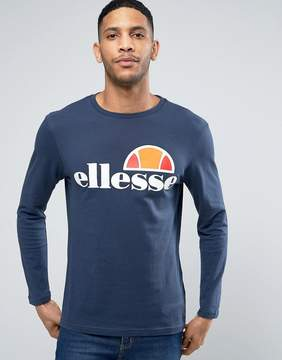 Ellesse Long Sleeve T-Shirt with Classic Logo In Navy