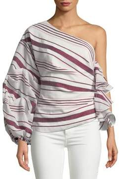 C/Meo CMEO COLLECTIVE One-Shoulder Stripe Balloon-Sleeve Top