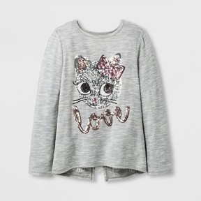 Miss Chievous Girls' Sequin LOVE Cat Face Top - Gray