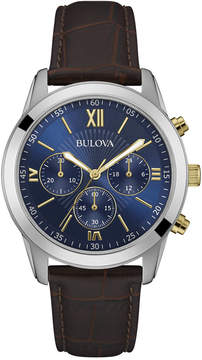 Bulova Men's Chronograph Brown Leather Strap Watch 40mm 98A151, A Macy's Exclusive Style