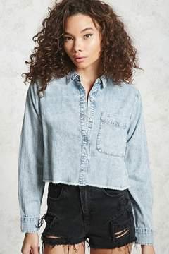 Forever 21 Contemporary Frayed Denim Shirt