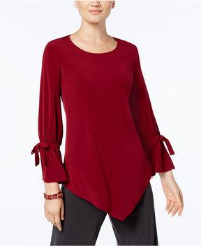 Alfani Ruffled-Sleeve Pointed-Hem Blouse, Created for Macy's