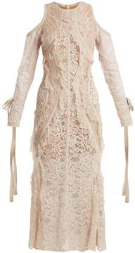 Elie Saab Fluted-hem floral-lace dress