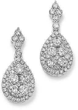 Bloomingdale's Diamond Cluster Teardrop Earrings in 14K White Gold, 1.0 ct. t.w. - 100% Exclusive