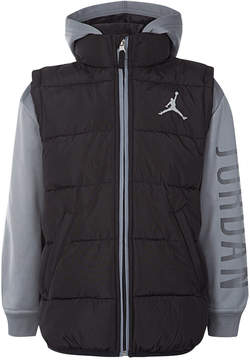 Jordan Aj Hooded Layered-Look Puffer Vest Jacket, Little Boys (4-7)