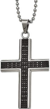 Black Diamond FINE JEWELRY Mens 1/2 CT. T.W. Color-Enhanced Stainless Steel Cross Pendant