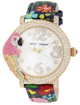 Betsey Johnson Women's Key West Crystal Leather Watch