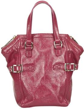 Saint Laurent Downtown patent leather handbag - PINK - STYLE