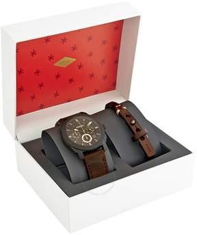 Fossil Machine Chronograph Dark Brown Dial Men's Watch Set
