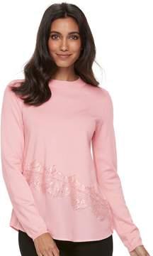 Elle Women's ElleTM Asymmetrical Mixed-Media Sweater