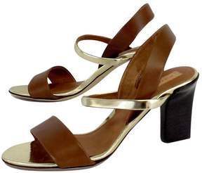 Reed Krakoff Brown & Gold Leather Sandal Heels