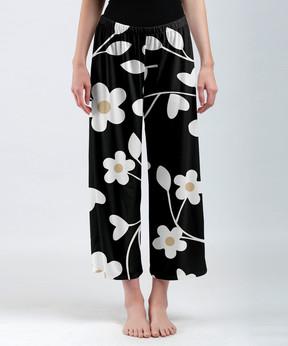 Lily Black & White Floral Crop Palazzo Pants - Women & Plus