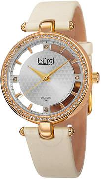 Burgi Beige Satin Strap Gold-Tone Diamond Dial Ladies Watch