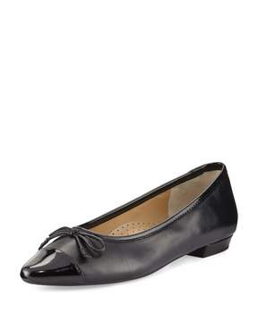 Neiman Marcus Gretchen Leather Flat, Black
