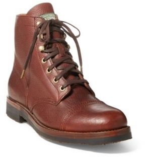 Ralph Lauren Enville Leather Boot Deep Saddle Tan 10