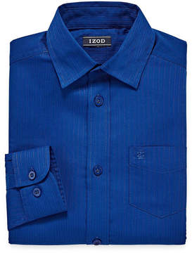 Izod Long Sleeve Yarn Dyed Woven Dress Shirt - 8-20 Boys