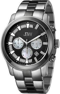 JBW Delano Black Chronograph Diamond Dial Two-Tone Steel Bracelet Men's Watch