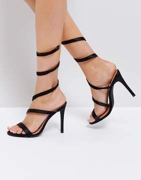 Public Desire Fire Black Spiral Heeled Sandals
