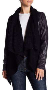 Blanc Noir BNCI by Faux Suede Knit Sweater Drape Jacket