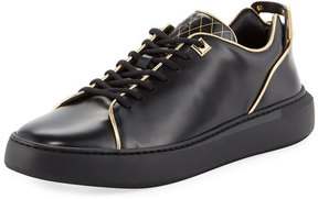 Buscemi Uno Leather Low-Top Sneaker with Golden Edges, Black