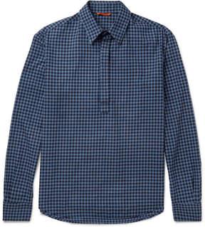 Barena Slim-Fit Half-Placket Gingham Cotton Shirt