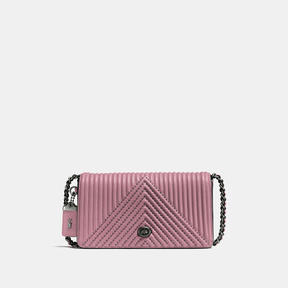 COACH Coach Dinky With Qulting And Rivets - BLACK COPPER/DUSTY ROSE - STYLE