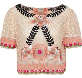 Temperley London Belle Cropped Embroidered Tulle Top