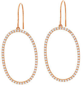 Diamonique Pave Elongated Oval Dangle Earrings,Sterling