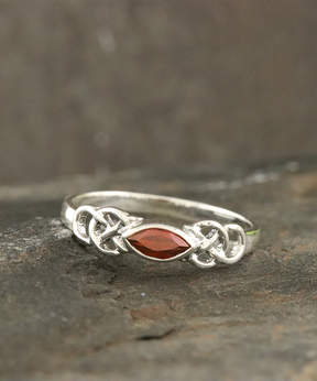 Celtic Garnet & Sterling Silver Openwork Ring