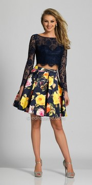 Dave and Johnny Two Piece Long Sleeve Lace and Floral Homecoming Dress